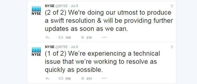 NYSE Twitter Feed: July 8th Outage