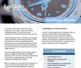 Data Sheet: Eze Disaster Recovery
