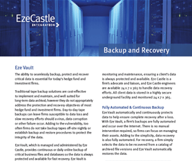 Data Sheet: Eze Vault Backup and Recovery